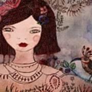 La Jolie Poupee Et L' Oiseau Art Print