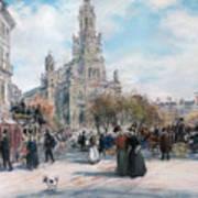 La Place De Trinite Art Print by Jean Francois Raffaelli
