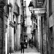 La Rambia Bw Street Gothic Quarter Narrow People  Art Print