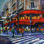 La Rotonde Paris Modern Impressionist Palette Knife Oil Painting Art Print