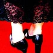 Lace Dress Uneven Heels Art Print