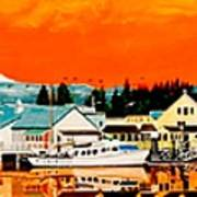 Laconner Last Water Front Panel Painting Art Print