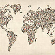 Ladies Shoes Map Of The World Map Print by Michael Tompsett