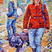 Lady  And Dog Art Print