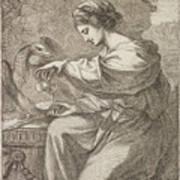 Lady And Eagle Art Print