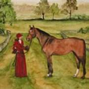 Lady And Horse Art Print
