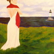 Lady At The Ocean Art Print