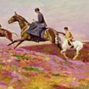 Lady Currie With Her Sons Bill And Hamish Hunting On Exmoor  Art Print