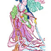 Lady He Of The Eight Immortals Art Print
