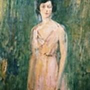 Lady In A Pink Dress Art Print by Ambrose McEvoy