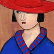 Lady In A Red Hat And Blue Coat Art Print