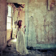 Lady In An Old Abandoned House Art Print by Jill Battaglia