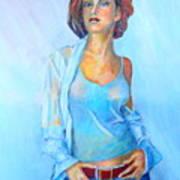 Lady In Blue II Art Print