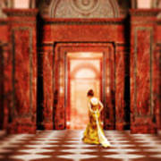 Lady In Golden Gown Walking Through Doorway Art Print