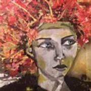 Lady In Red Headdress Art Print
