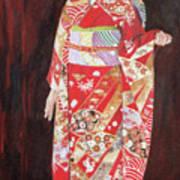Lady In Red Kimono Art Print
