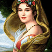 Lady In Veil Art Print
