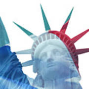 Lady Liberty With French Flag Art Print