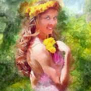 Lady Of The Dandelions Art Print