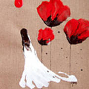 Lady Of The Poppies -contemporary Abstract Woman Red Flowers Fantasy Art Print by Catherine Jeltes