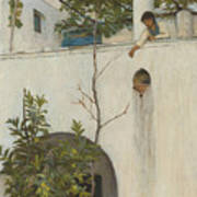 Lady On A Balcony, Capri Art Print