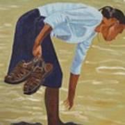 Lady On The Seashore Art Print