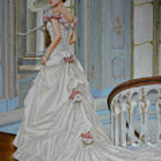 Lady On The Staircase Art Print