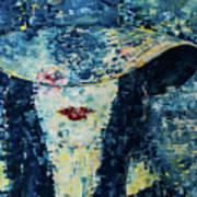Lady Wears A Hat In Blue Art Print