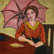 Lady With An Umbrella Art Print