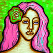 Lady With Green Flower-pink Art Print by Brenda Higginson