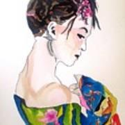 Lady With Kimono Art Print