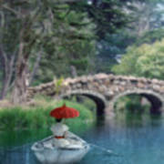 Lady With Parasol In Boat Art Print
