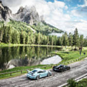 Laferrari And Gt3rs In The Dolomites Art Print