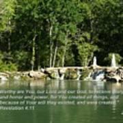 Lake At Cinco Ranch With Scripture Art Print