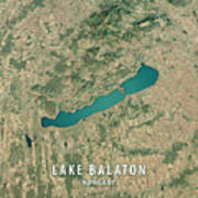 Lake Balaton 3d Render Satellite View Topographic Map Art Print