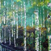 Lake Birch Art Print