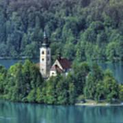 Lake Bled Island Art Print