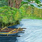 Lake Bratan Boats Bali Indonesia Art Print