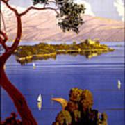 Lake Garda Vintage Poster Restored Art Print