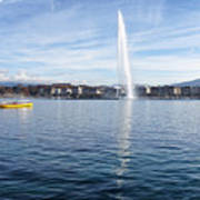 Lake Geneva Switzerland With Water Fountain And Water Taxi On A  Art Print