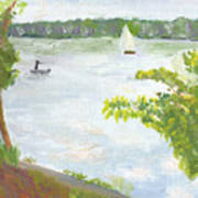 Lake Harriet With Sailboat And Angler Art Print