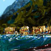 Lake Houses Art Print by Russell Pierce
