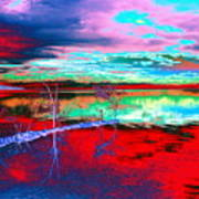 Lake In Red Art Print