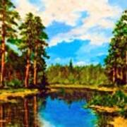 Lake In The Forest  Art Print