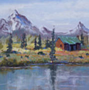 Lake Jenny Cabin Grand Tetons Art Print