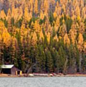 Lake Mcdonald Boatshed Art Print