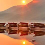 Lake Mcdonald Fiery Sunset Art Print