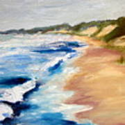 Lake Michigan Beach With Whitecaps Detail Art Print