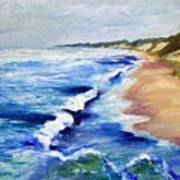 Lake Michigan Beach With Whitecaps Art Print