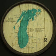 Lake Michigan Map Art Print